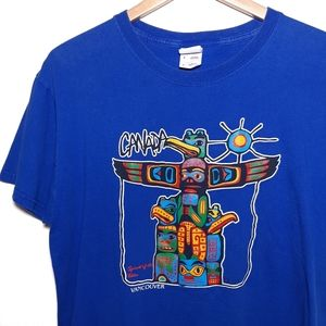 Vancouver Canada Totem Pole Graphic Blue T-Shirt